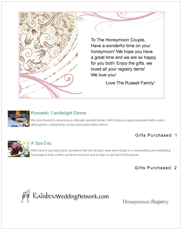 Rainbow Wedding Network Honeymoon Registry
